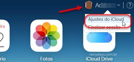 ícone da foto Ajustes do iCloud