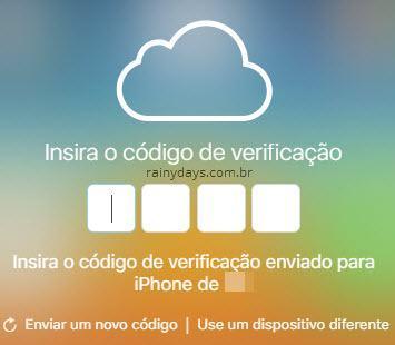 inserir código de verificação iCloud