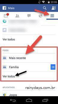 "Mostrar ""Mais Recente"" no Aplicativo do Facebook"