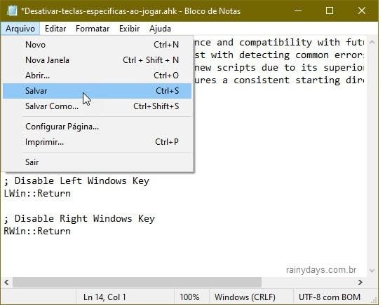 Salvar edição em script AutoHotkey