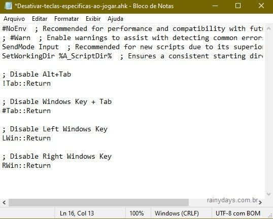 script para desabilitar teclas específicas quando jogar no PC
