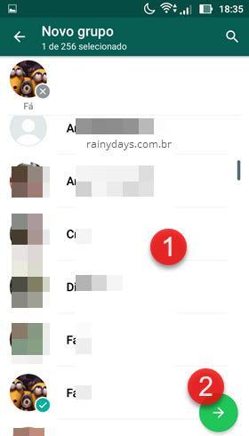 selecionar contatos para grupo WhatsApp