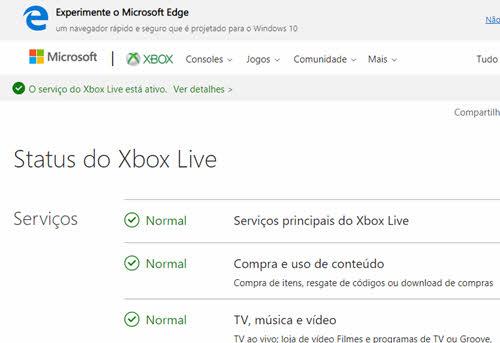 Status da Xbox Live fora do ar ou não