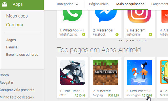 Comprar aplicativo na Google Play Store