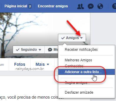 Adicionar a outra lista Facebook
