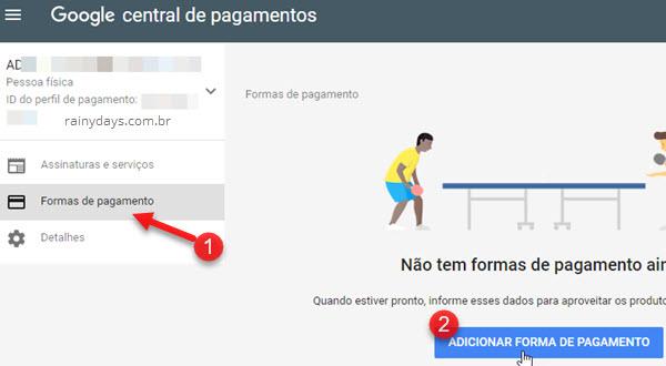 Adicionar forma de pagamento Google Payments