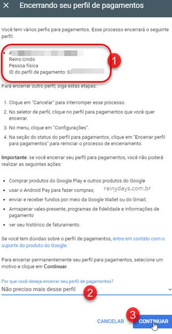 Apagar perfil da Central de Pagamentos Google