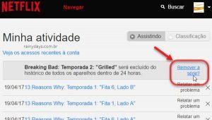 Apagar filmes da lista de atividade do Netflix