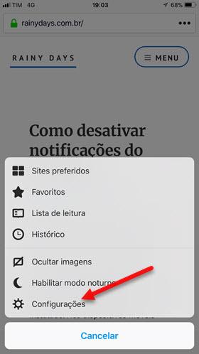 Configurações Firefox iOS Android