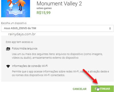 Continuar compra de app na Google Play