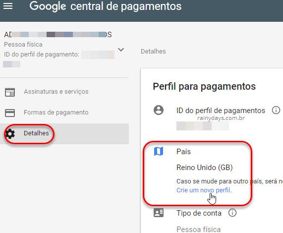 Crie um novo perfil Central de Pagamentos Google