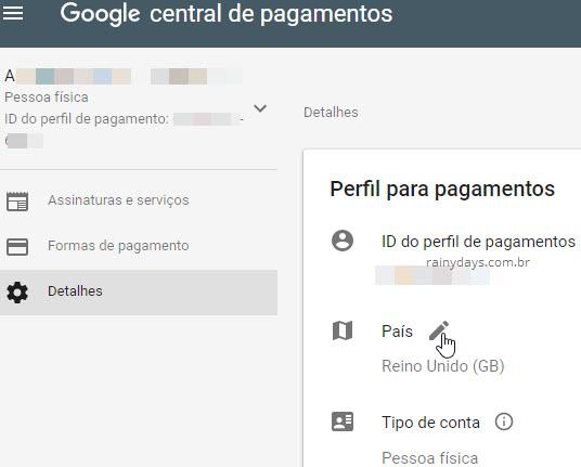 Editar país Google Payments