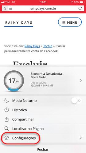Engrenagem configurações Opera Android iOS