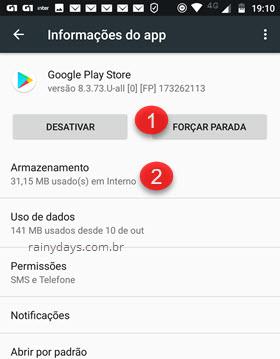 Forçar parada Google Play Store Android