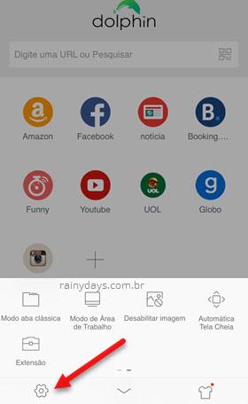 ícone engrenagem configurações Dolphin Android iOS