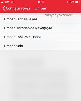 Limpar dados de navegação Opera Android iOS
