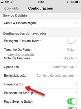 Limpar dados navegador Dolphin Android iOS
