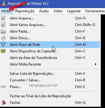 Mídia Abrir Fluxo de Rede VLC