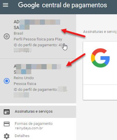 Modificando entre perfil no Google Payments