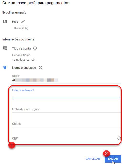 Novo endereço Google Payments