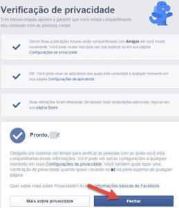 Verificação de privacidade do Facebook