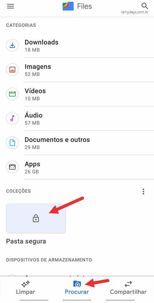 Procurar Pasta Segura Files do Google Android