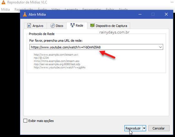 Protocolo de Rede VLC url de rede Reproduzir