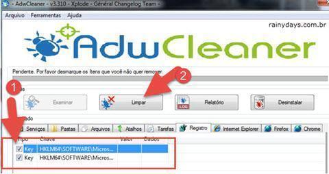 Remover barras de ferramentas e malwares 2