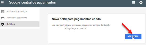 ver perfil criado Google Payments