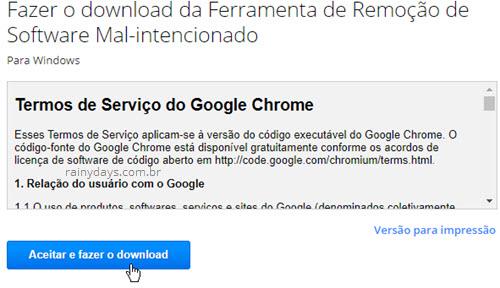 Aceitar download ferramenta remoção software mal intencionado Chrome