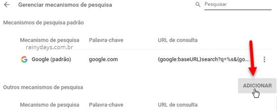 Adicionar mecanismos de pesquisa Chrome