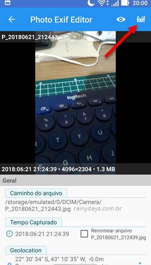 apagar dados de localização no app Photo Exif Editor