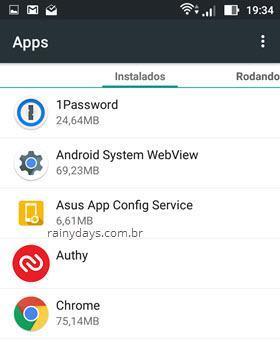 aplicativos instalados no Android