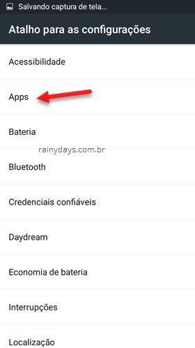 atalho para as configurações Android