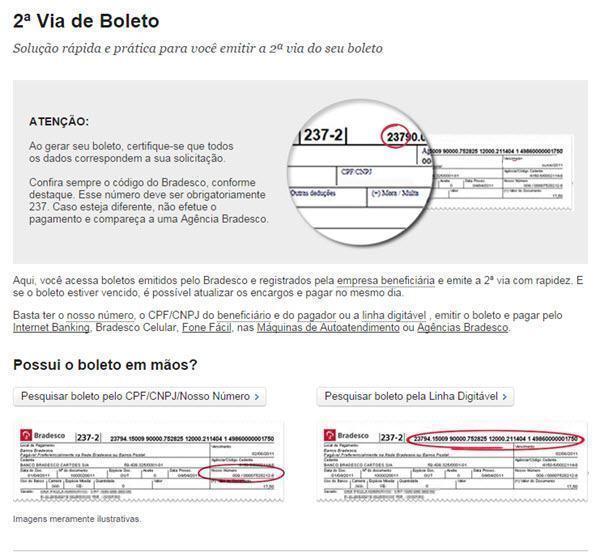 Como atualizar boleto do Banco Bradesco, imagem da página para emitir boleto