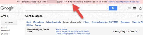 aviso Gmail concedeu acesso a outra pessoa Gmail