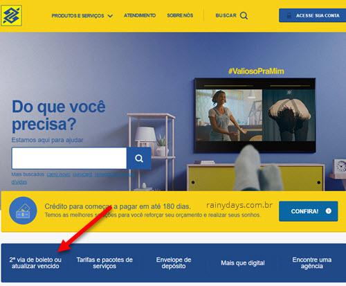 Como atualizar boleto do Banco do Brasil, imagem da página oficial