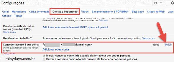 Conceder acesso à sua conta Gmail excluir