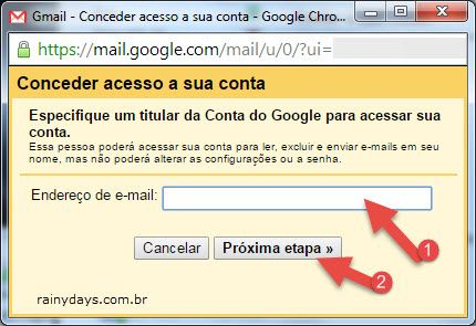 conceder acesso a sua conta do Gmail