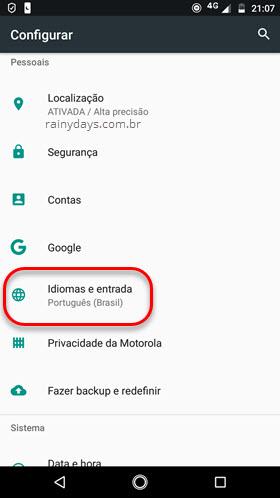 configurar Idiomas e entrada Android