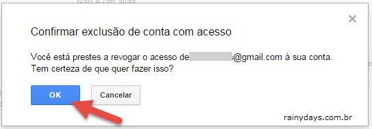 Confirmar exclusão de acesso de amigo na conta Gmail