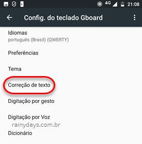 Correção de texto Teclado Android