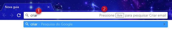 Criar email pela barra de endereços do Chrome