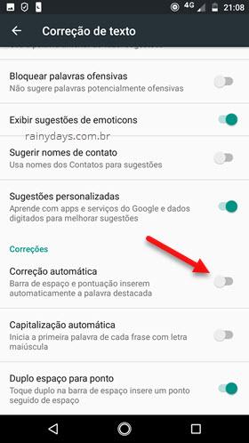 Desativar correção automática do teclado Android
