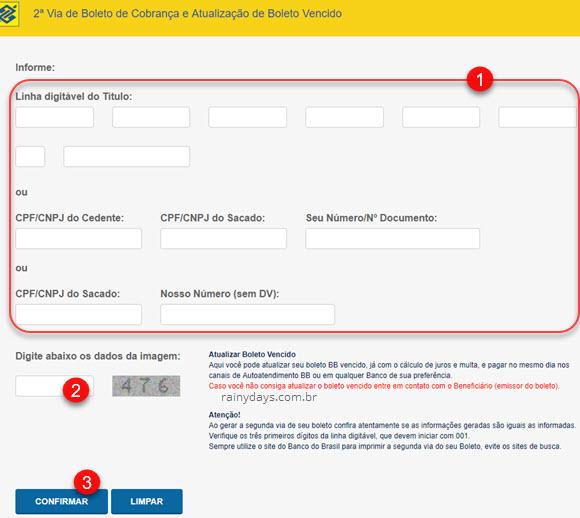 Emitir segunda via 2 via boleto Banco do Brasil, página para digitar código