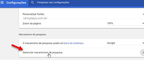 gerenciar mecanismos de pesquisa Chrome