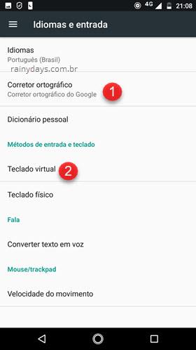 Idiomas Corretor Ortográfico Google Android