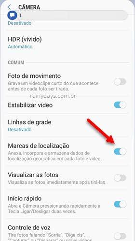 marcas de localização câmera fotos e vídeo Android