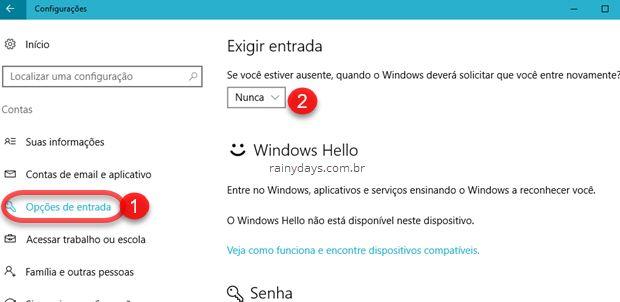 Opções de Entrada Windows Exigir Senha Nunca
