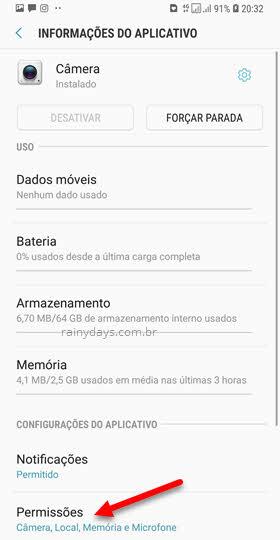 Permissões Câmera no Android